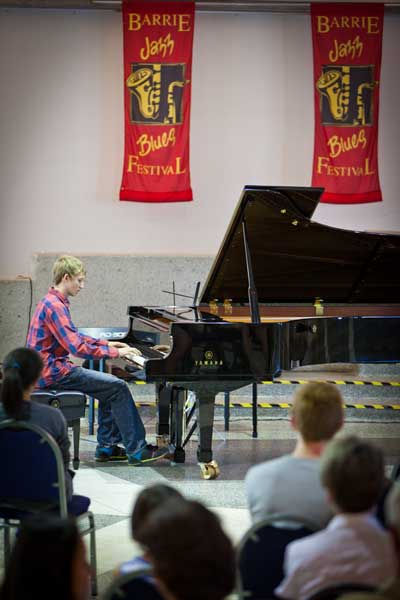 Jakob plays piano and Barrie Jazz & Blues Festival